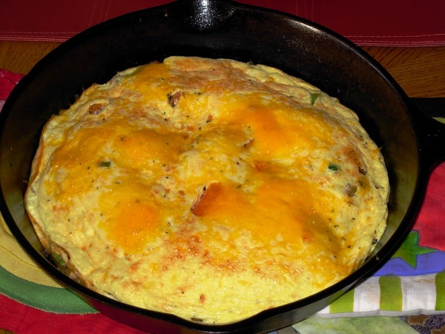 Cheesy Frittata in a cast iron skillet
